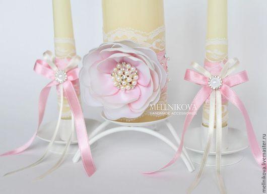 """Свадебные аксессуары ручной работы. Ярмарка Мастеров - ручная работа. Купить Свадебные свечи """"Cream Rose"""". Handmade. Бледно-розовый"""
