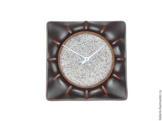 Часы для дома ручной работы. Ярмарка Мастеров - ручная работа. Купить Часы настенные кожаные  S-05. Handmade. Часы