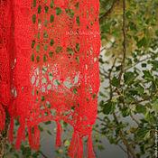 """handmade. Livemaster - original item Red scarf """"Blow"""". Handmade."""