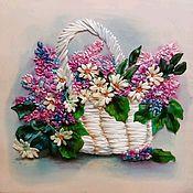 Картины и панно ручной работы. Ярмарка Мастеров - ручная работа Корзинка цветов. Handmade.