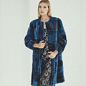Одежда ручной работы. Ярмарка Мастеров - ручная работа Шуба из меха бобра синяя. Handmade.