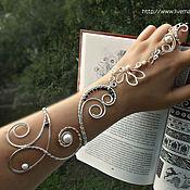 """Украшения ручной работы. Ярмарка Мастеров - ручная работа Слейв-браслет""""Древний мир""""(браслет с жемчугом,браслет с кольцом). Handmade."""