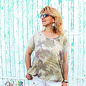 Одежда handmade. Livemaster - original item Blouse colors of summer - silk, contact dyeing, ekoprint. Handmade.