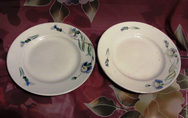 Винтаж: Довоеные пирожковые тарелки. Конаково. Пара, Тарелки винтажные, Салтыковка,  Фото №1