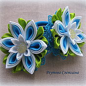 Работы для детей, handmade. Livemaster - original item Hair bands Winter Lily in the technique of kanzashi. Handmade.