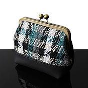 Сумки и аксессуары handmade. Livemaster - original item Tweed leather Cosmetic bag, cosmetic bag cage, small handbag. Handmade.