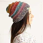 handmade. Livemaster - original item Product copy Beanie hat made of hemp, rainbow color #087. Handmade.