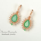 Украшения handmade. Livemaster - original item Earrings gold plated Mint opal green gold. Handmade.