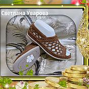 Обувь ручной работы. Ярмарка Мастеров - ручная работа Босоножки женские с открытыми пальчиками.Тёмное золото..Подошва ТЭП.. Handmade.