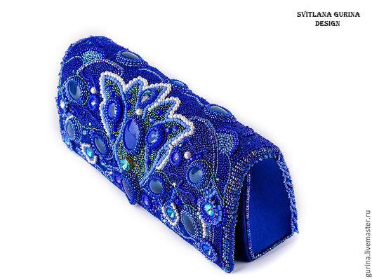 Ярко синяя вечерняя сумочка. Вышитая бисером сумка. Синий клатч