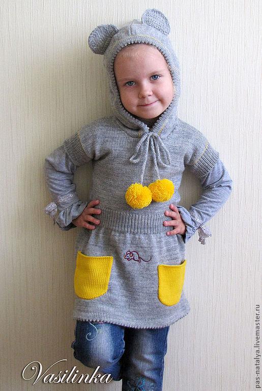 """Одежда для девочек, ручной работы. Ярмарка Мастеров - ручная работа. Купить Вязаная туника для девочки """"Мышонок"""". Handmade. Серый"""