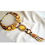 "Украшения handmade. Livemaster - original item A long necklace with agate ""Sunset on the islands"". Volumetric necklac. Handmade."