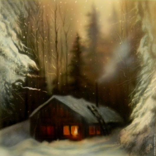 Пейзаж ручной работы. Ярмарка Мастеров - ручная работа. Купить Тёплый свет.. Handmade. Оранжевый, зима в лесу, дом в лесу