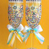 """Свадебный салон ручной работы. Ярмарка Мастеров - ручная работа Свадебные бокалы """"Прихоть Невесты"""". Роспись по стеклу. Handmade."""