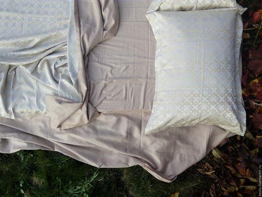 """Текстиль, ковры ручной работы. Ярмарка Мастеров - ручная работа. Купить Постельное белье из жаккарда и сатина (однотонного цвета нюд) """"Золото"""". Handmade."""