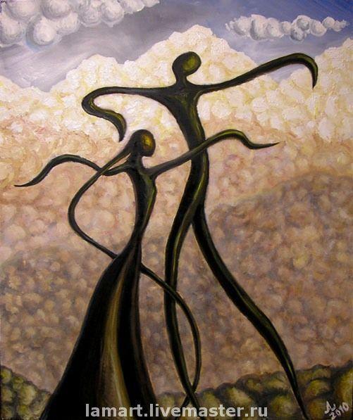 Символизм ручной работы. Ярмарка Мастеров - ручная работа. Купить Ритмы гор. Handmade. Картина, Кавказ, танец, для интерьера, романтика