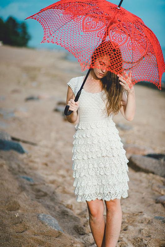 Зонты ручной работы. Ярмарка Мастеров - ручная работа. Купить Ажурный красный зонт. Handmade. Ярко-красный, аксессуар для свадьбы