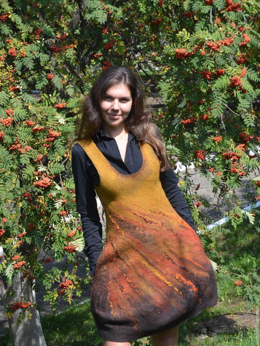 Платья ручной работы. Ярмарка Мастеров - ручная работа. Купить Сарафан валяный Рябиновый цвет. Handmade. Рыжий, коричневый сарафан