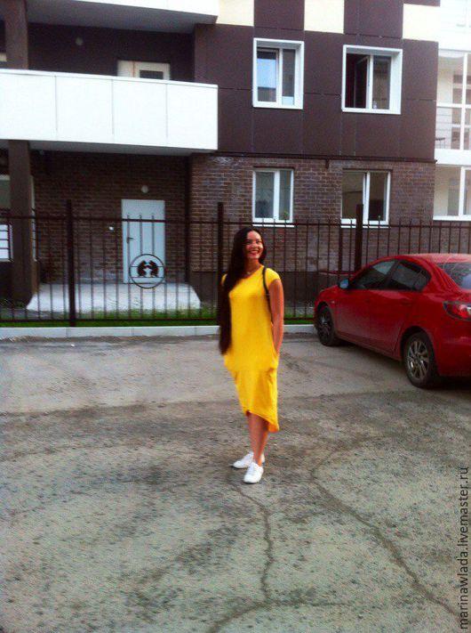 Платья ручной работы. Ярмарка Мастеров - ручная работа. Купить Платье трикотажное х/б. Handmade. Желтый, женское платье