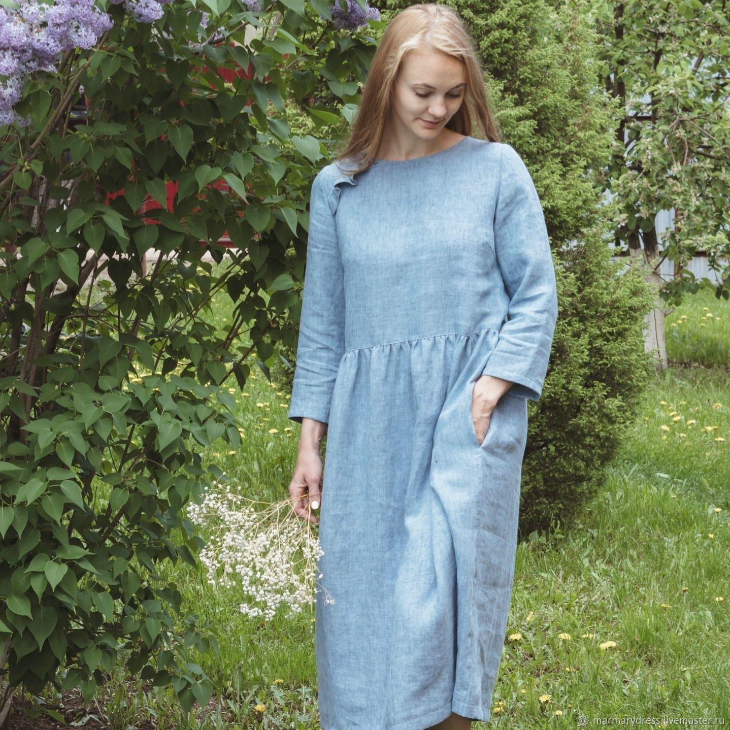 Платья ручной работы. Ярмарка Мастеров - ручная работа. Купить Льняное платье 'Ванда'. Handmade. Летнее платье, платье для офиса