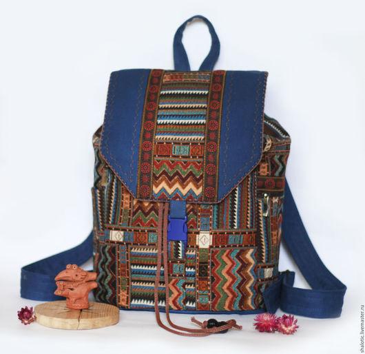 Рюкзак с этническим рисунком, сумки и рюкзаки ручной работы, оригинальный рюкзак в подарок, автор Юлия Льняная сказка