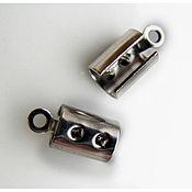 Материалы для творчества ручной работы. Ярмарка Мастеров - ручная работа Зажим-концевик для ожерелья, браслета, цилиндр, серебряный тон 11.0мм. Handmade.
