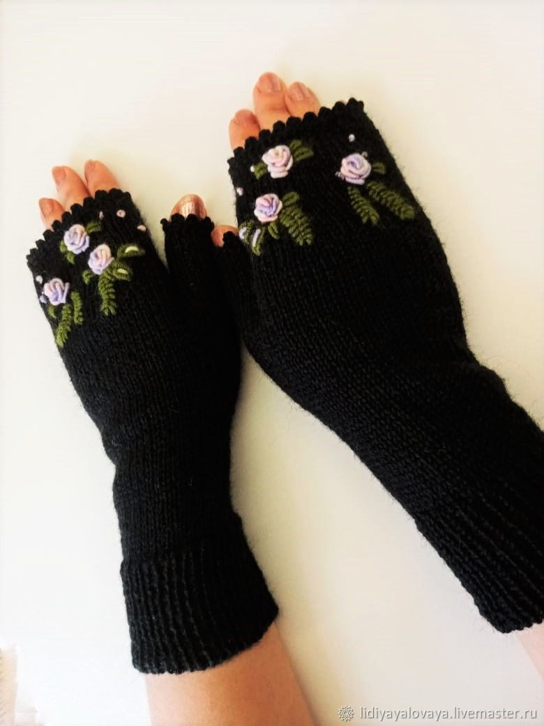 Knitted mittens with embroidery, Mitts, Bataysk,  Фото №1