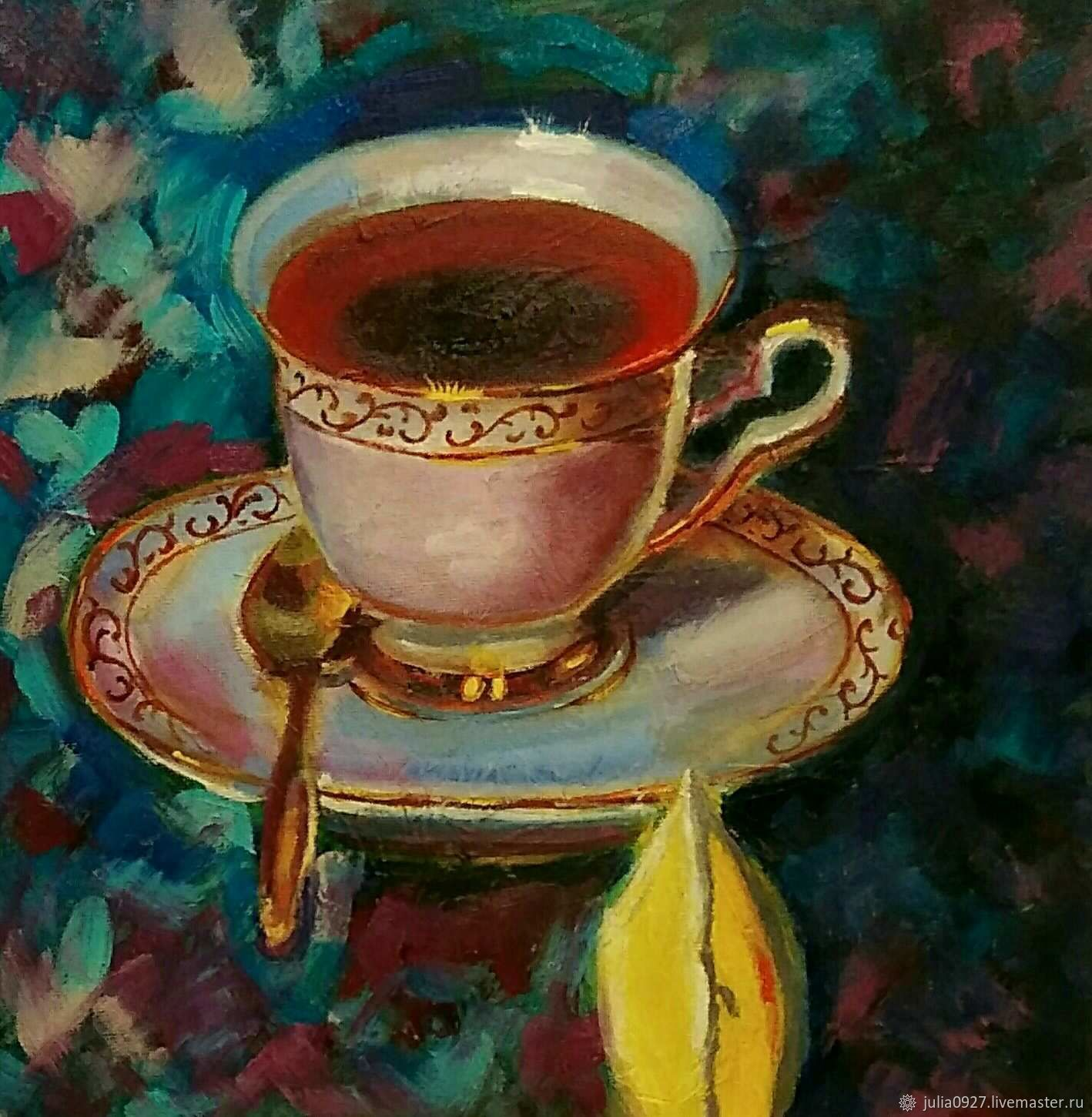 Oil painting tea Party still life with Cup on saucer, Pictures, Ekaterinburg,  Фото №1
