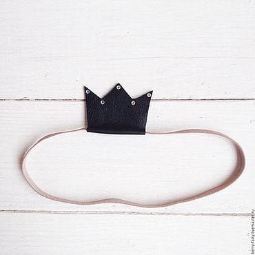 Работы для детей, ручной работы. Ярмарка Мастеров - ручная работа Черная корона из натуральной кожи. Handmade.