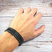 Украшения handmade. Livemaster - original item Leather bracelet with embossed Green stitching. Handmade.