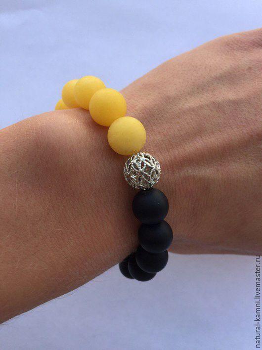 Браслеты ручной работы. Ярмарка Мастеров - ручная работа. Купить Желто-черный браслет из агата и шунгита. Handmade. Комбинированный, браслет