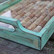 Для дома и интерьера ручной работы. Ярмарка Мастеров - ручная работа мятный бирюзовый поднос с винными пробками. Handmade.
