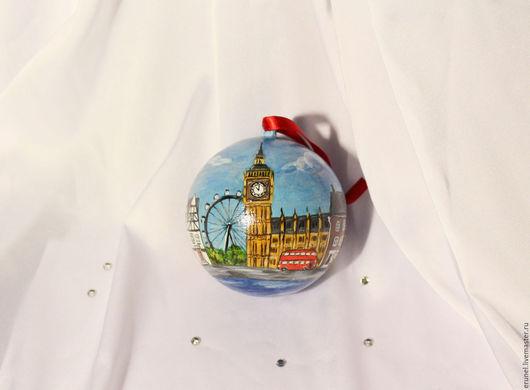 """Новый год 2017 ручной работы. Ярмарка Мастеров - ручная работа. Купить Елочный шар """"Лондон"""". Handmade. Игрушки елочных шариков"""