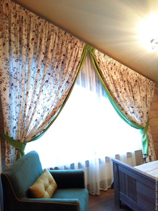 Текстиль, ковры ручной работы. Ярмарка Мастеров - ручная работа. Купить Шторы в мелкий цветочек с плюшевым пледом. Handmade. Зеленый