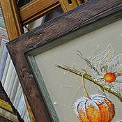 Картины и панно handmade. Livemaster - original item Embroidered picture of Physalis. Handmade.