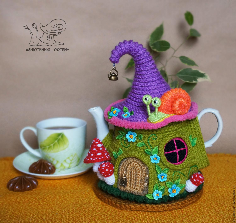 """Грелка на чайник """"Зеленый сказочный домик"""" (с чайником), Игрушки животные, Тутаев, Фото №1"""