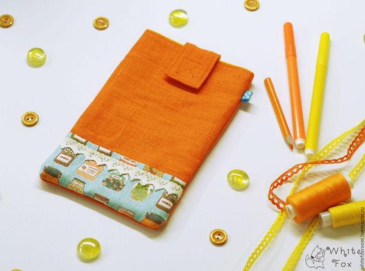 Органайзеры для сумок ручной работы. Ярмарка Мастеров - ручная работа. Купить Льняной холдер. Handmade. Оранжевый, электронная книга, скляночки
