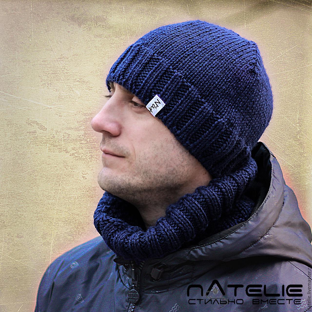 Вязаные мужские шапки и шарфы своими руками