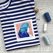 Одежда handmade. Livemaster - original item Striped oversize t-shirt with sea Girl pocket. Handmade.