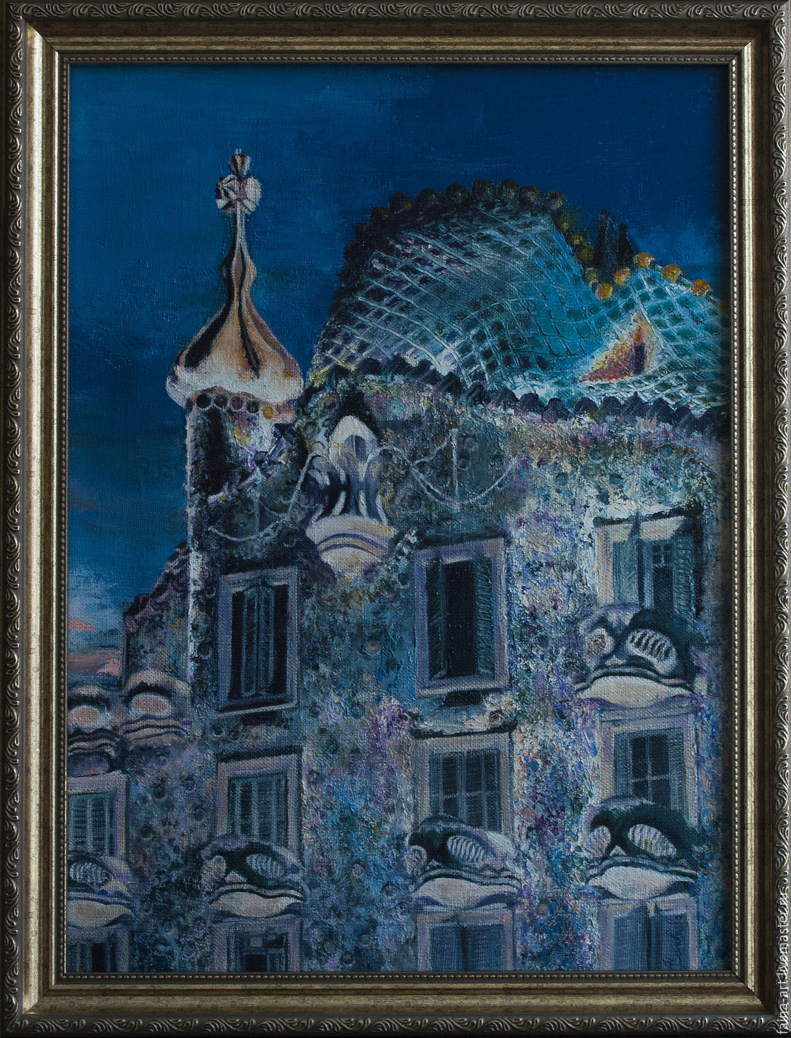 Barcelona. Gaudi. The House Batlló. Oil painting, Pictures, Novosibirsk,  Фото №1