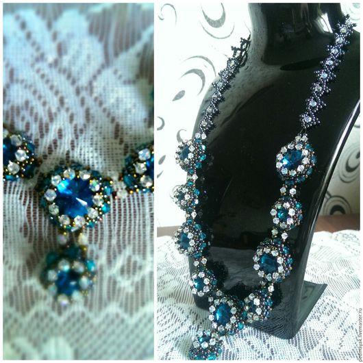 """Колье, бусы ручной работы. Ярмарка Мастеров - ручная работа. Купить Ожерелье """"Айлин"""". Handmade. Темно синий, бусы, ожерелье"""