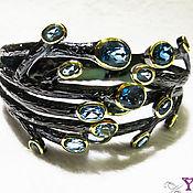 Шикарный браслет из чернёного серебра 925 пробы и топаза Лондон блю.
