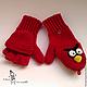 """Одежда унисекс ручной работы. Шапка, шарф, варежки """"Angry Birds Red"""". Лена Потапова (Вязать люблю). Ярмарка Мастеров."""