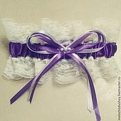 Свадебный салон ручной работы. Ярмарка Мастеров - ручная работа Лиловая подвязка невесты. Handmade.