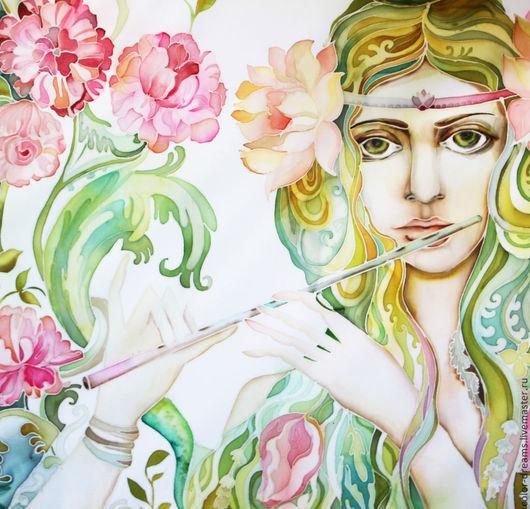 Картины цветов ручной работы. Ярмарка Мастеров - ручная работа. Купить Музыка цветов. Handmade. Мятный, батик картина