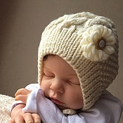 Работы для детей, ручной работы. Ярмарка Мастеров - ручная работа Шапочка для новорожденной-3. Handmade.