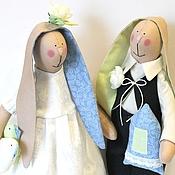 """Куклы и игрушки ручной работы. Ярмарка Мастеров - ручная работа Зайцы в стиле Тильда """"Желаем счастья!"""". Handmade."""