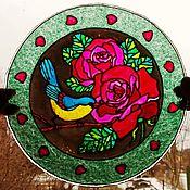 """Русский стиль ручной работы. Ярмарка Мастеров - ручная работа Тарелочка/подвес """"Розы и синица"""". Handmade."""
