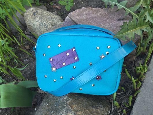 Женские сумки ручной работы. Ярмарка Мастеров - ручная работа. Купить Синяя сумка через плечо. Handmade. Кожаная сумка