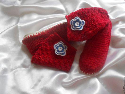 Обувь ручной работы. Ярмарка Мастеров - ручная работа. Купить Сапожки. Handmade. Ярко-красный, весна, с цветочками
